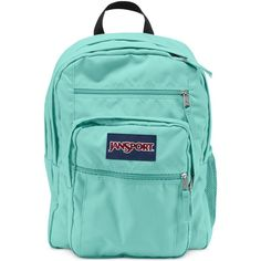 Jansport Big Student Backpack in Aqua Dash ($46) ❤ liked on Polyvore featuring bags, backpacks, aqua dash, jansport bags, padded backpack, knapsack bags, aqua blue backpack and day pack backpack