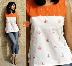 Orange  white hand painted and embroidered top by HasthaKatha