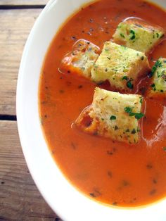 Tomato gin soup. Maybe like white chocolate grill? no mushrooms in this one though...