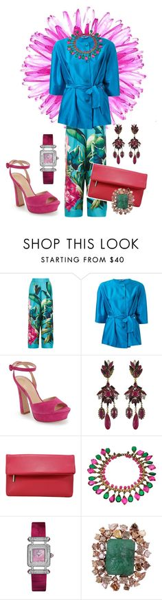 """""""Pretty in Pink and Green."""" by lexuslady ❤ liked on Polyvore featuring F.R.S. For Restless Sleepers, Etro, Kay Unger New York, Erickson Beamon, La Regale and Audemars Piguet"""