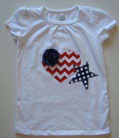 America's Sweet Heart Girls Appliqued TShirt Onesie by TokenBlonde, $16.00