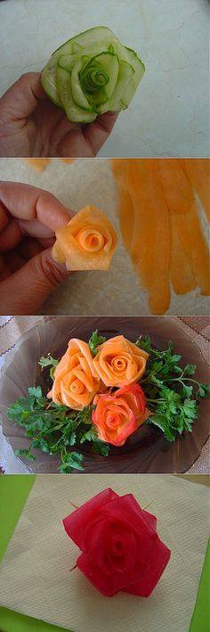Rosettes for you! From vegetables! (step by step): Decoration of dishes. Veggie Recipes, Cooking Recipes, Veggie Food, Cooking Tips, Meat Platter, Fruit Platters, Canapes Recipes, Food Carving, Buffet