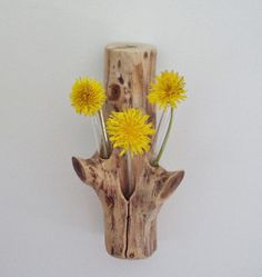 Rustic Flower Vase Found Wood Test Tube Bud Vase Gift by llacarve, $15.00    Bud Vase can either Stand or hang