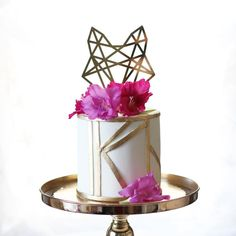 Geometric Modern Fox Head Cake Topper for Boho Party Cake   Handmade Wedding Decor & Gifts at www.ZCreateDesign.com... or shop ZCreateDesign on Etsy