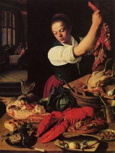 """""""Küchenstillleben"""" (kitchen still life) by Jeremias van Winghe, 1615. Netherlands / Flanders."""