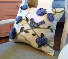You Could Make That: A FELTED BIRD AND ROSE PILLOW idea