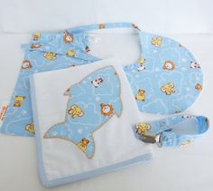 Kit bag for baby boy: washcloth cotton, plasticized turkish Baby Bib and pacifier holder.
