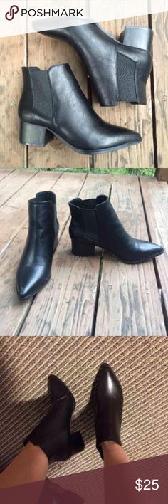 Chelsea boots OFFERS ACCEPTED ; Black leather booties from just fab with pointed toe from justfab  ! Has a 2 inch heel. Not sure if I'm ready to let these go so make offers in the comments or in the offer box ! HAS SLIGHT WEAR TO THEM BUT IN PERFECT CONDITION OTHER THAN THAT Shoes Ankle Boots & Booties