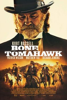 Bone Tomahawk Directed by S. With Kurt Russell, Patrick Wilson, Matthew Fox, Richard Jenkins. In the dying days of the old west, an elderly sheriff and his posse set out to rescue their town's doctor from cannibalistic cave dwellers. Matthew Fox, Patrick Wilson, 2015 Movies, Hd Movies, Movies To Watch, Movies Online, Action Movies, Movie Film, Kathryn Morris