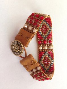 Fiesta Red! Hand Loomed Beaded Bracelet. Red, Cream, Denim Blue, Bronzed Gold With Leather End Tabs and Gold Button Closure
