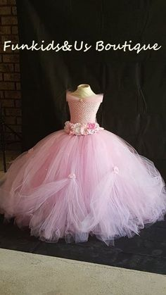 Beautiful Pink white Princess Tutu gown with Rhinestone - Perfect for Weddings, Photo Shoots, etc Diy Tutu Skirt, Tulle Dress, Baby Skirt, Princess Tutu Dresses, Flower Girl Dresses, Long Dresses, Toddler Tutu, Baby Tutu, Fairy Dress