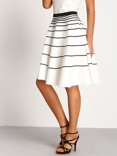 White Striped A-Line Skirt