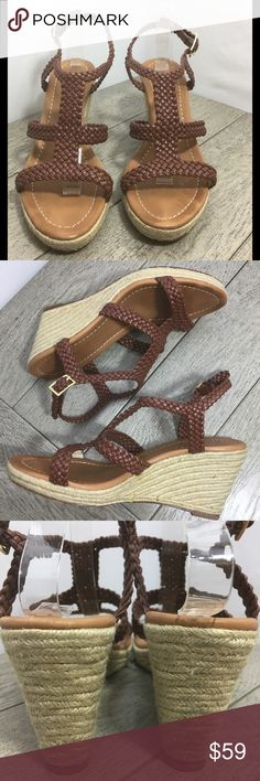 Kate Spade Cognac Brown Woven Wedges Size 10 Kate Spade New York Size 10 Woven Cognac brown Wedge Clean. Bottom sole excellent condition. Minimal to no wear seen on leather. wear seen is some glue on bottom wedge seen  ❣️Thank you for your business! 👍🏼Reasonable offers! Lowballers will be blocked! #sorrynotsorry 🏃🏻 Next business day shipping!  💰Bunde and save 30% off 2+ items ⛔️Smoke free, 1 🐶 but he is no where near the items  🚫No trades/outside offers/modeling 👋🏽New to poshmark??…