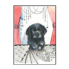 Black Labrador Puppy Unique Handmade Greeting Card by hilink