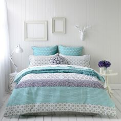 Kate's room: Mercer + Reid quilt cover sets, Azure. $90 for cover. My 13 year old daughter has this. Looks lovely with white furniture