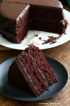Vegan Chocolate Cake with Chocolate Peanut Butter Ganache. Simple Chocolate Layer Cake. Add raspberry or apricot preserves. Soy-free Palm Oil-free Recipe | http://VeganRicha.com