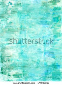 Turquoise and Green Abstract Art Painting - stock photo