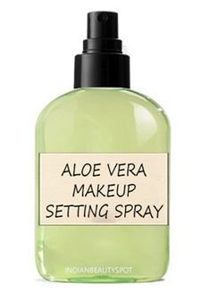 Aloe Vera Makeup Setting Spray - 3 part Water 1 part aloe vera Pour up to about 1/4th of the bottle with 100% Pure Aloe Vera Gel into the spray container. Then fill the rest of the spray container with warm water. Shake the container until all the contents are mixed thoroughly. You are now finished with your homemade refreshing setting spray. You can add in few drops of Vitamin E oil to extend the shelf life of the makeup setting spray.
