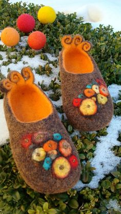 Felted colourful slippers. Like tea cosies for the feet @Susan Plant