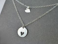 Mother Daughter Heart Necklace Set - Sterling Silver