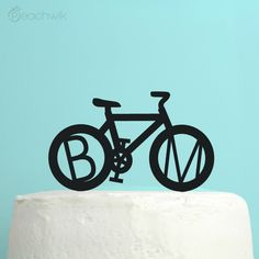 Personalized Bicycle Wedding Cake Topper - Personalized Initials Wedding Cake Topper - By Peachwik