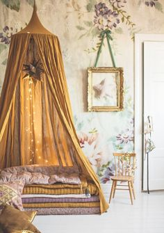 This honey yellow creates the perfect focus on the lovely teepee bed draped. The light tan background create a perfect compliment with the honey yellow!!!