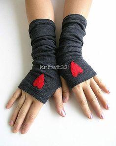 Hearts Dark Grey Arm Warmers Fingerless Knit by GoToBoutique