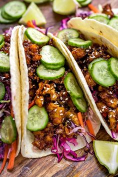 Korean-Inspired Crispy Tofu Tacos - Host The Toast - - Korean-Inspired Crispy Tofu Tacos. Learn the secret to making the best crispy tofu and serve it in flavor-packed tacos with crunchy slaw and quick pickles. Veggie Recipes, Whole Food Recipes, Cooking Recipes, Healthy Recipes, Tofu Dinner Recipes, Firm Tofu Recipes, Tofu Meals, Best Tofu Recipes, Cooking Ham