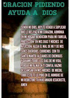 Señor danos tu protección God Prayer, Prayer Quotes, Mom Quotes, Bible Quotes, Night Prayer, Catholic Prayers In Spanish, Inspirational Prayers, Morning Prayers, Prayer Board
