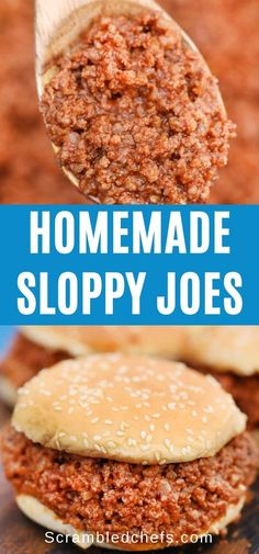 Turn ground beef into this delicious 30-Minute Sloppy Joe's Recipe that everyone will devour in seconds!  Simple and easy, this meal is sure to be a hit! #SloppyJoes #30MinuteMeal #SloppyJoeRecipe #GroundBeefMeals #ScrambledChefs #EasyDinner Homemade Sloppy Joe Recipe, Homemade Sloppy Joes, Sloppy Joes Recipe, Easy Sandwich Recipes, Easy Recipes, Easy Meals For Kids, Kids Meals, Dinner Sandwiches, Cheap Dinners