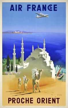Middle East - Air France airlines vintage travel poster  camels