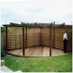 corner pergola: paved not with decking. Climber plants covering the woods & seating area/chimnea. Pergola D'angle, Pergola With Roof, Covered Pergola, Pergola Shade, Pergola Ideas, Garden Decking Ideas, Back Garden Ideas, Wisteria Pergola, Covered Garden