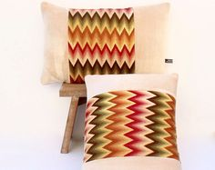 Bargello bordado Art Decó Chevron con terciopelo suave marfil Lumbar almohada Coussin fundas de colchón