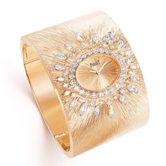 Piaget Viva L'arte cuff watch from the Sunlight Journey high jewellery collection Piaget Jewelry, Cuff Jewelry, High Jewelry, Bling Jewelry, Jewelry Watches, Jewlery, Stylish Watches For Girls, Trendy Watches, Elegant Watches