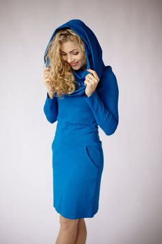 Ocean blue dress long sleeve dress with pockets cowl neck