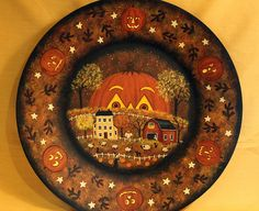 Halloween Folk Art Wood Plate - Hand painted MADE TO ORDER - Primitive Saltbox Village, Full Moon, Pumpkins, Candy Corn, Autumn Leaves, Bats by RavensBendFolkArt on Etsy