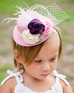 Mini Top Hat Fascinator Headband: Ivory Pink and Plum elagance. Perfect for Infant, Toddlers & Children Photo props Toddler Tea Party, Girls Tea Party, Tea Party Theme, Princess Tea Party, Tea Party Hats, Tea Party Birthday, Birthday Hats, Birthday Banners, 2nd Birthday