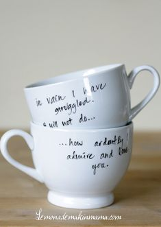 Customized Porcelain Mugs  (I would totally do Harry Potter quotes, no surprise there...)  *I actually made some of these, using a Sharpie oil-paint pen instead of the one she uses, which isn't available at Michaels in Canada. They look soo good:)*