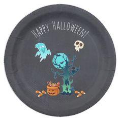 #customized - #Spooky Halloween Graveyard Paper Plate