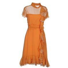 Luisa Beccaria Knee-length Dress ($770) ❤ liked on Polyvore featuring dresses, orange, short sleeve ruched dress, orange dress, bow neck dress, ruched dress and knee length dresses
