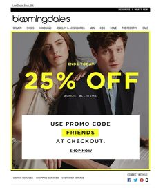 #newsletter Bloomingdales 03.2015 Last Day to Save 25%