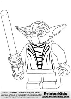 lego star wars yoda battle ready coloring page - Yoda Coloring Pages