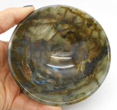 "Labradorite Hand Carved Gem Stone Bowl Reiki Healing 4.29"" Large Size"