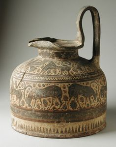 "Frieze of Grazing ibex. Ceramic Squat Oinochoe. 590-570 BCE. Corinth, Greece, Height: 8.5"""