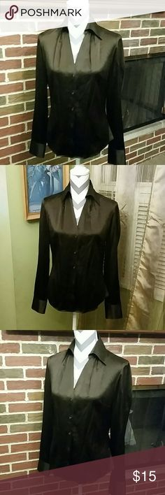 Ann Taylor top Dark brown button down top. 91% silk and 9% spandex.  Dry clean only Ann Taylor Tops Button Down Shirts