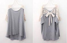 Cute Lace Back Short Sleeve Grey Loose T-shirt