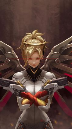 Mercy, overwatch, artwork, game, red wings, 720x1280 wallpaper