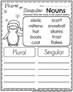 January Grade Worksheets - Plural and Singular Nouns Plurals Worksheets, Homeschool Worksheets, Homeschooling, Nouns First Grade, First Grade Reading, Grade 2, Kindergarten Writing Activities, 1st Grade Activities, Winter Activities