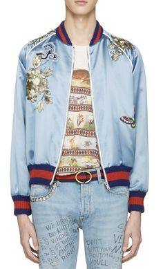 Gucci Blue Embroidered Silk Bomber Jacket from SSENSE (men, style, fashion, clothing, shopping, recommendations, stylish, menswear, male, streetstyle, inspo, outfit, fall, winter, spring, summer, personal)