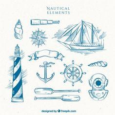 Mão farol desenhado com barco e outros elementos de marinheiro